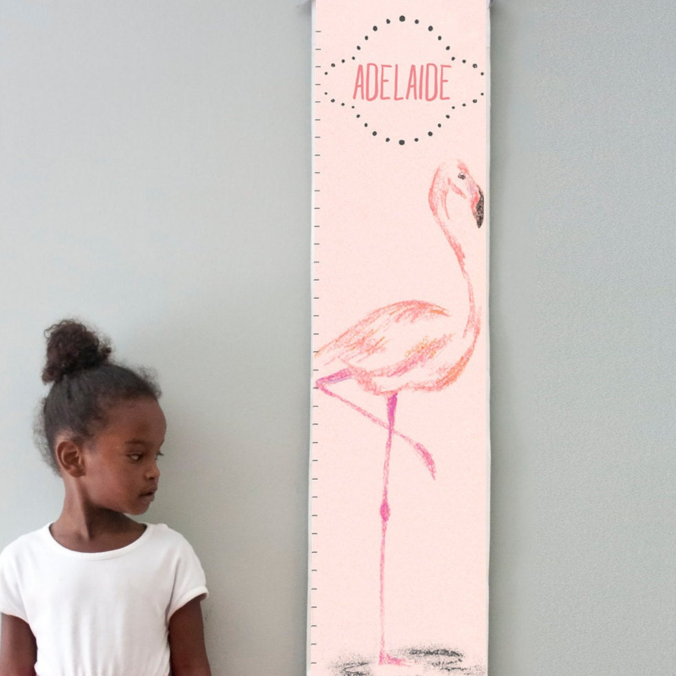 Custom/ Personalized Pink Flamingo canvas growth chart - perfect for baby girl's nursery or big girl room