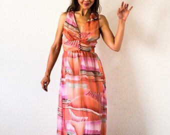 70s Painted Sky Maxi Dress/// size Small-Med