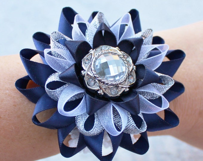 Wrist Corsage, Flower Wrist Corsage, Navy Blue Corsage, White, Silver, Navy Corsage, Mother of Bride Corsage, Mother of Groom Corsages