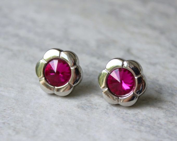 Fuchsia Earrings, Hot Pink Earrings, Hot Pink Jewelry, Tourmaline Pink, Hot Pink Bridesmaid Earrings, Flower Earrings, Pink Crystal Earrings