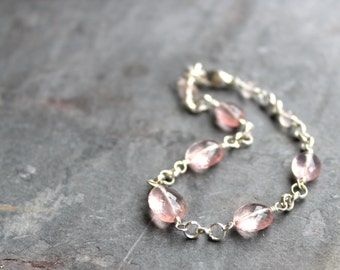 Rose Quartz Bracelet Sterling Silver Pink Gemstone Bracelet semi precious faceted beads quartz jewelry
