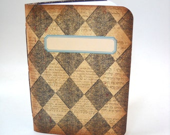 Harlequin Notebook, Handmade Notebook, Diamonds Notebook