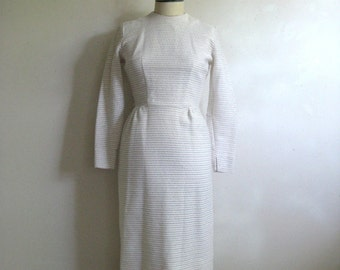 Vintage 1960s Dress White Gold Mad Men Wiggle Day Dress Small