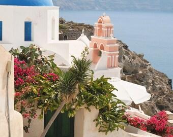 Santorini Greece Print - Oia Photography - Greek Islands Photo - Travel Photography - Blue Dome Churches - Mediterranean Home Decor Wall Art