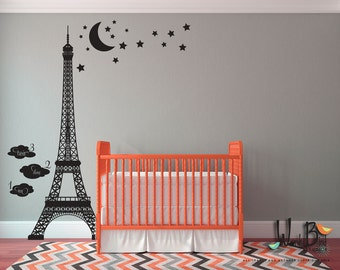 Eiffel Tower Growth Chart - kids wall decals - Vinyl Wall Decal Sticker mural