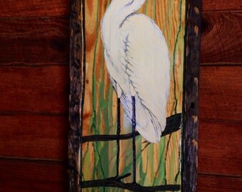 """Perched Egret painting distressed wood 36"""" one of a kind original on reclaimed wood home decor wall art by wildlife artist Todd Lynd"""