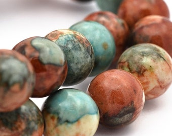 15 Jade Beads 8mm Dyed Desert Tones Gemstone Beads - BD889
