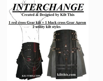 Interchangeable Black Soft Cotton Gear Utility Kilt with Red Cross and Black Cross Gear Set Adjustable Custom Fit with Large Cargo Pockets