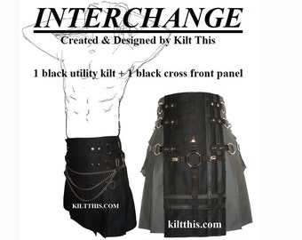 Interchangeable Black Cotton Snap Utility Kilt Black on Black Clips Gear Set Adjustable Custom Fit with Large Expanding Cargo Pockets