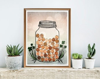 good luck gift - lucky penny jar print - lucky pennies - mason jar print - mixed media illustration