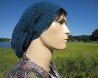 Cable Knit Beanie Men's Winter Hats, Teal Blue Slouchy Long Back Dreadlock Dread Tam A1034