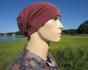 Slouch Hats, BOHO Clothing for Men Acid Washed Slouchy Beanie Terracotta Brick Red Cotton Knit Tam Oversized Baggy Back Style A1710