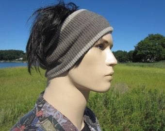 Men's Knit Headband Hair Band Tube Hair Wrap Brown Thermal Knit Merino Wool Blend A1582