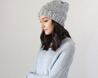 Classic Slouchy Chunky Knit Wool Beanie Ribbed Hat, winter beanie toque hat, gifts for him her // The Oslo Beanie - GREY MARBLE