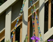 Multicolored cane glass beaded hanging basket wire