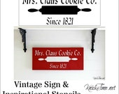 Christmas Sign Stencil - Mrs. Claus Cookie Co.