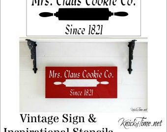 "Christmas Sign Stencil - Mrs. Claus Cookie Co. with free 1"" Bristle Stencil Brush"