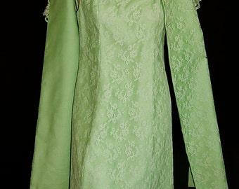 2 piece suit vintage 60's pale tea green fishnet tulle floral lace pin up bombshell cocktail party asymmetric bolero jacket stole dress - M