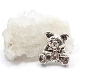 Teddy Bear Brooch Pin Vintage Sterling Silver 925