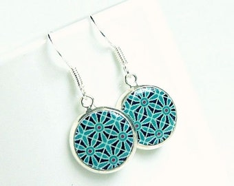blue tiles drop earrings, mediterranian, bohemian, boho chic, photo resin