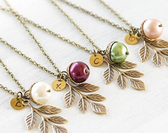Acorn Brass Leaf Branch Necklace Personalized Acorn Pendant Necklace Initial Necklace Woodland Wedding Bridesmaid Gift mothers day gift