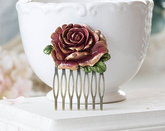 Dark Red Burgundy Rose Hair Comb Gold Tipped Petals Green Leaves Floral Filigree Hair Comb Rustic Vintage Shabby Chic Country Wedding Bridal