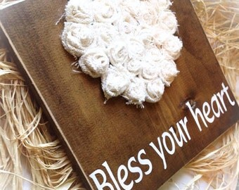 Bless Your Heart Sign , Wood SIgn , Burlap Sign , Heart Sign