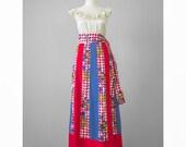 Vintage 70s Boho Maxi Skirt / 1970s Chessa Davis Long Bohemian Panel Skirt / Polka Dot Check Floral Print Cotton Hippie Festival Skirt