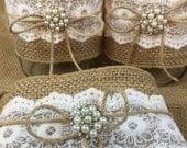 Set of 10 QUART Jar Wraps, Burlap and Lace Mason jar wraps, Table Centerpiece, Rustic wedding, Wedding decor, Burlap, Quart jar sleeves