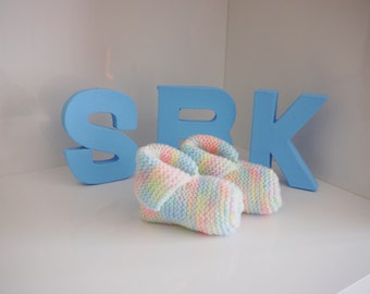 Cute knitted multi pastel coloured baby booties with turn over cuff