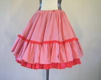 Red Gingham Picnic Full Circle Skirt Swing