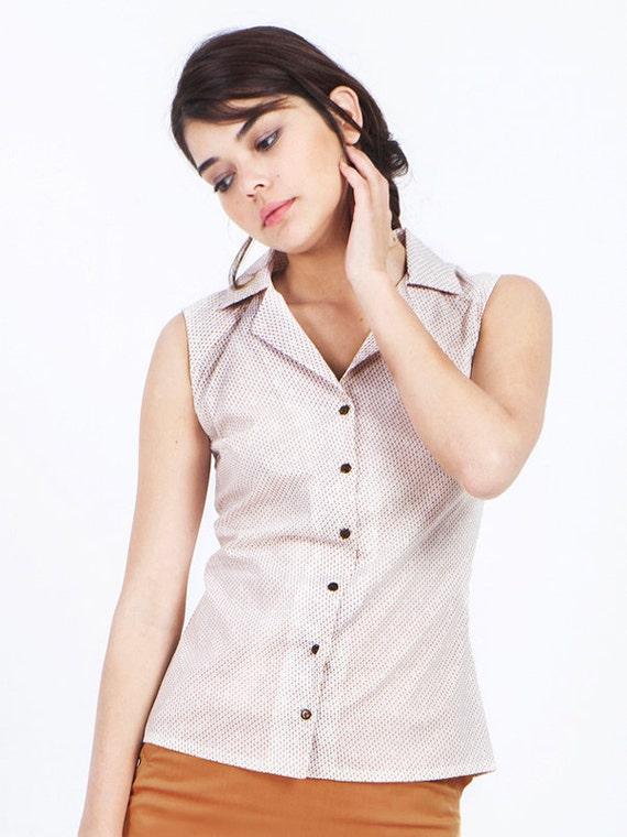 Sale cream shirt sleeveless blouse cotton blouse by for Sleeveless cotton button down shirts