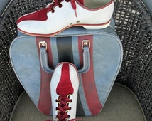 Vintage Women's Endicott Johnson Bowling Shoes - Gray Leather and Burgundy Suede - Women's Leather Rockabilly Shoes - EXCELLENT Condition