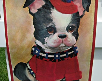 Vintage Big Eye French Bulldog Litho Print - Near MINT Condition - Big Eyed Dog Oil Painting Art Print Ready for Framing