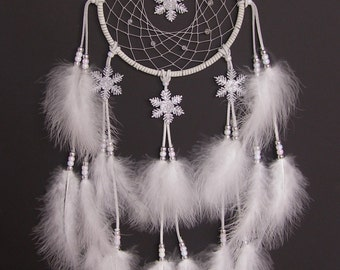 HOLIDAY SALE White Snowflake Dream Catcher- 7 inch