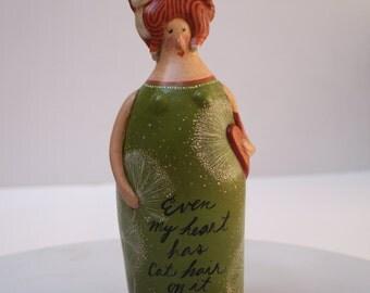 Even My Heart Has Cat Hair on It  Rustic Primitive Art Doll OOAK