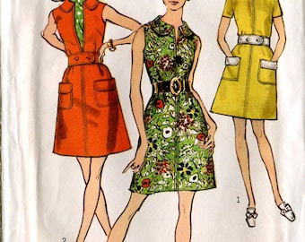 Simplicity 8686 Vintage 1960s - 70s Mod Mini Dress Sewing Pattern Uncut B32.5