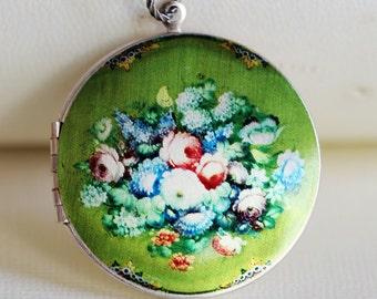 Locket Necklace,Large Locket,Silver Locket,Jewelry,Pendant,Something Green Flower Locket,Image locket,picture locket,Wedding Necklace