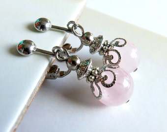 Pink Quartz Dangle Clip On Earrings - Non-Pierced Ears