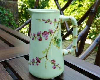 Small Pitcher, Porcelain. Cherry Blossoms, Hand Painted, Enamel. Asian Design. Green & Pink. Vintage Creamer, Syrup Pitcher, Vase.
