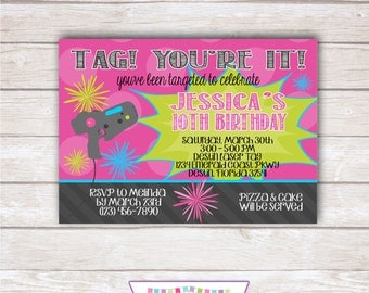 LASER TAG Birthday Party Invitation - Printable