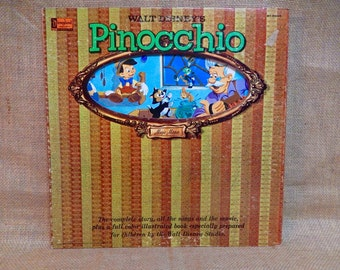 BACK TO SCHOOL Walt Disney'S - Pinocchio -1960 Vintage Gatefold Record Album...Full Color Illustrated Book