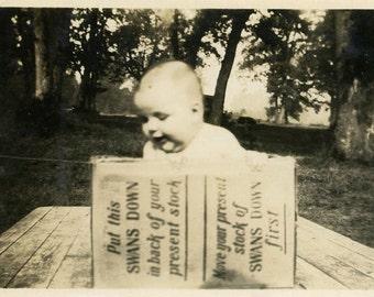 "Vintage Photo ""The Swans Box"" Ad Baby Snapshot Photo Old Antique Photo Black & White Photograph Found Photo Paper Ephemera Vernacular - 173"