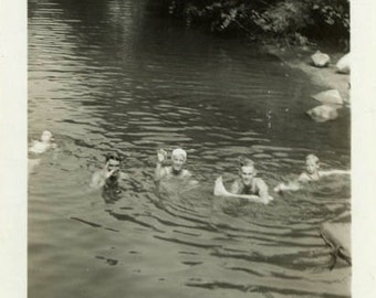 "Vintage Photo ""Secret Swimming Hole"" Snapshot Photo Old Antique Photo Black & White Photograph Found Photo Paper Ephemera Vernacular - 49"