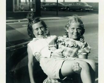 "Vintage Photo ""The Strongest Girl"" Fun Snapshot Photo Old Antique Photo Black & White Photograph Found Photo Paper Ephemera Vernacular - 61"