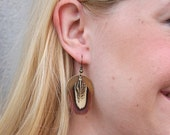 Brass Coin and Pheasant Feather Earrings