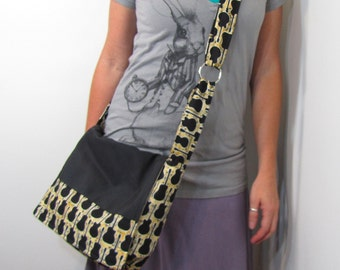 Guitar Player Messenger Bag Cross Body Womens