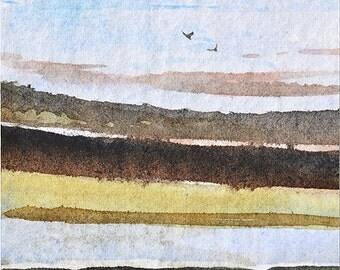 Original ACEO watercolor painting - Landscape layers