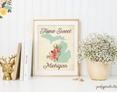 Home Sweet Michigan - Rustic Aqua Watercolor Flowers Home is Where the Heart Is - Home Sweet Home Decor - INSTANT DOWNLOAD - 302