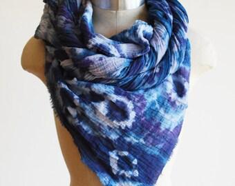 shibori dyed scarf, cotton scarves, indigo and violet wrap, oversized scarf, long scarf